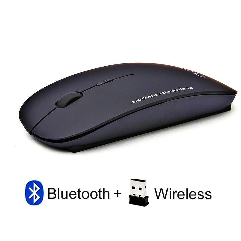 Dual Mode 2.4Ghz Wireless + Bluetooth 2 In 1 Cordless Mouse 1600 DPI Ultra-thin Ergonomic Portable Optical Mice Computer PC
