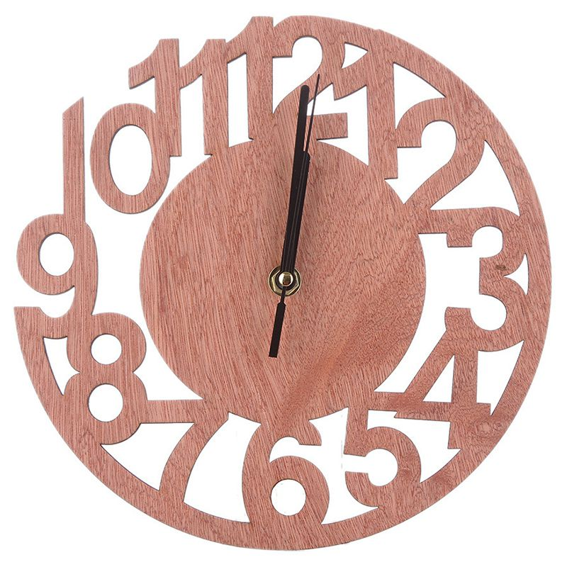 3D Wall Clock Number Wooden Silent Clock For Home Kitchen Office