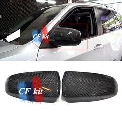 Zestaw CF najwyższej jakości prawdziwe tylne włókna węglowego z widocznym ekranem osłona na lusterko boczne naklejki do bmw E70 E71 X5 X6 lusterka Car Styling|Lusterko i pokrowce|   -