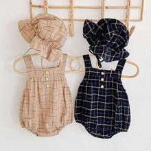 Monos para bebés, niños y niñas con estampado a cuadros sin mangas, monos casuales de otoño para niños pequeños con sombrero, monos para niños, trajes