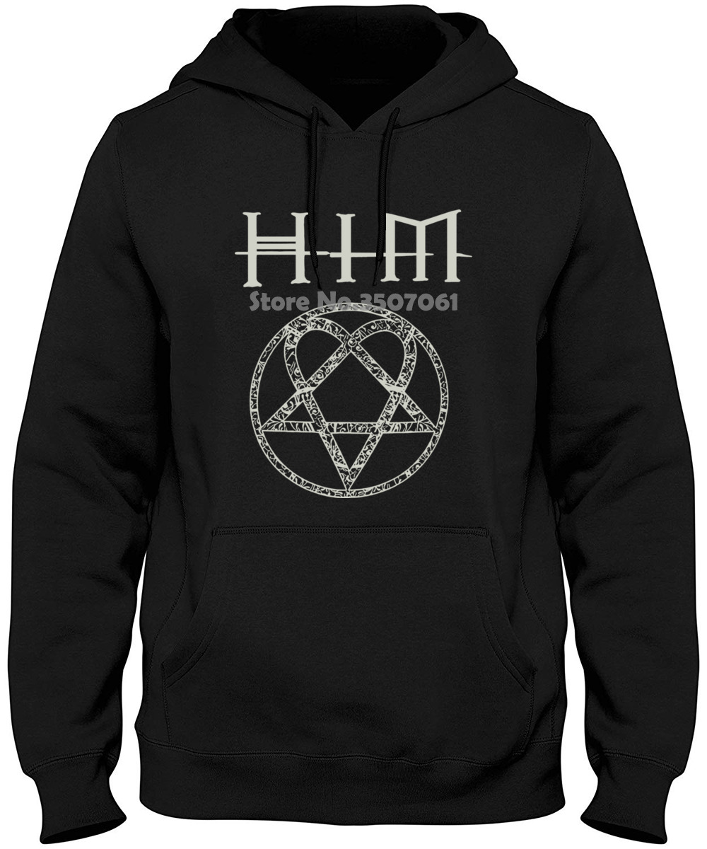 O-neck Men Him H.i.m. Ornate Heartagram Logo Mens Black Ville Valo Mikko Lindstrom Hoodies & Sweatshirts
