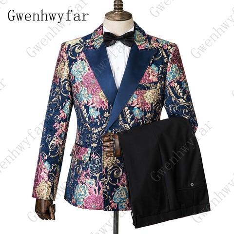 Gwenhwyfar Navy Blue Peaked Lapel 3 Pieces Flower Suit Mens Tuxedo Floral Wedding Prom Suits Best Man Blazer With Pants Vest Pakistan