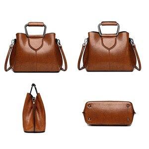 Image 4 - Женская сумка тоут из натуральной кожи, ручная сумка черного и винного цвета, 2019
