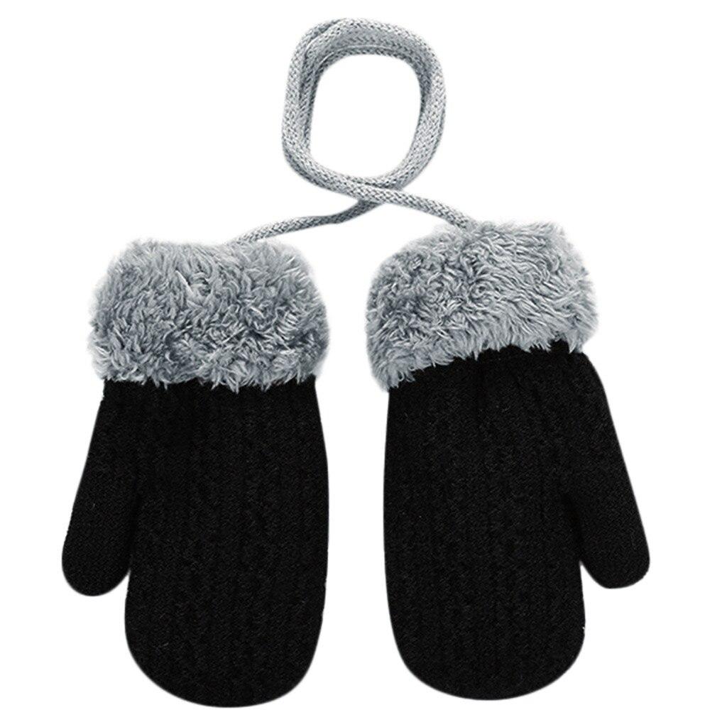 Теплые зимние Лоскутные рукавицы для маленьких девочек и мальчиков; милые детские перчатки; теплые зимние перчатки на весь палец