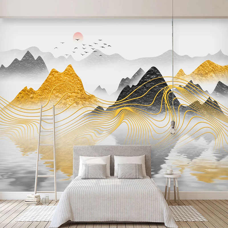 3D  Ink Abstract Landscape Mountain Wall Mural Removable Self-adhesive Sticker