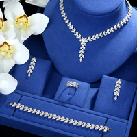 Be 8 Shining AAA Cubic Zircon India Jewelry Set Fashion Design 4pcs Wedding Necklace Jewelry Bridal Sets for Woman Bijoux S486