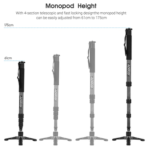Image 4 - Andoer TP 340C Portable Carbon Fiber Camera Monopod 34mm Pipe Diameter with Three Legged Supporting Stand for DSLR Cameras