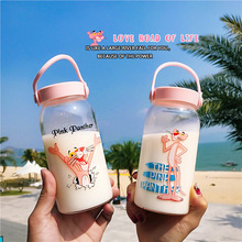 400ML Cartoon Water Bottles Milk Cup Portable Students Cute Pink Panther Drink Glass Water Bottle for Juice Coffee Tea Drinkware