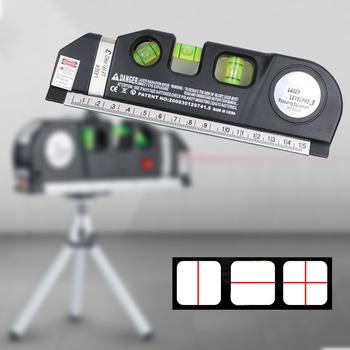Poziom lasera horyzont pionowy pomiar 8FT Aligner standardowe i metryczne linijki uniwersalny środek poziomica laserowa czarny tanie i dobre opinie FGHGF 650nm-680nm 0 01cm 2 linie Pionowe i Poziome Lasery 18 5 (L) x 6 2(W) x 2 8 (H) cm 000174