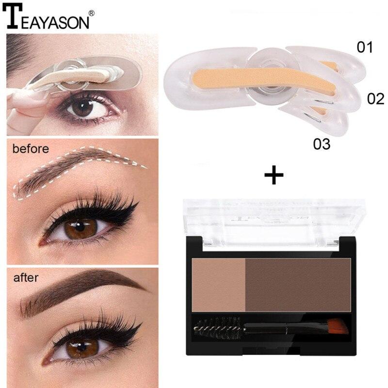 Adjustable Eyebrow Stamp Kit Double Color Perfect Arch Eyebrow Shadow Powder Palette Eyebrow Seal Eye Brow Enhancers Eye Brow 1
