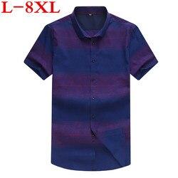 Nuevo gran tamaño de talla grande 8XL 7XL 6XL 5XL para hombre estampado de verano azul manga corta solapa Masculina Casual camisetas Camisa Masculina