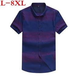 new big plus size 8XL 7XL 6XL 5XL Mens print Summer blue Short Sleeve Lapel Male Casual Tops Camisa Masculina Shirts
