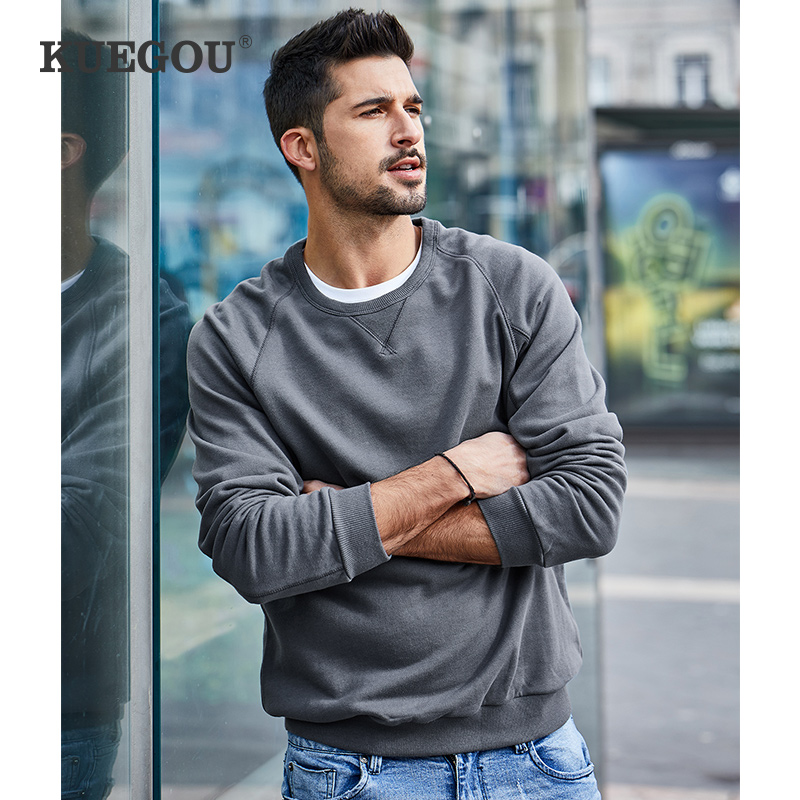 KUEGOU 100% Cotton Men's sweatshirts spring autumn fashion sweatshirt men pure color hoodie top plus size MW-2287