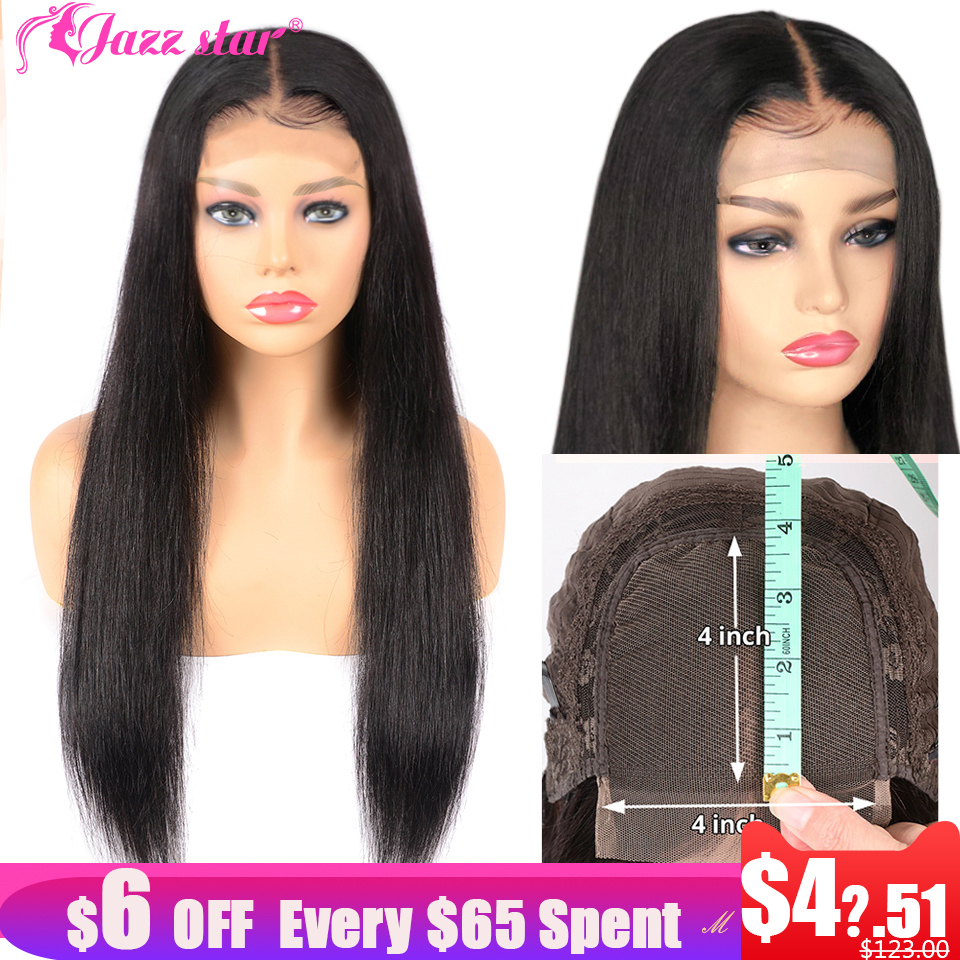 Brazilian 4*4 Lace Closure Wig Straight Human Hair Wigs For Black Women Non-Remy Jazz Star 150% Density Lace Wig With Baby Hair
