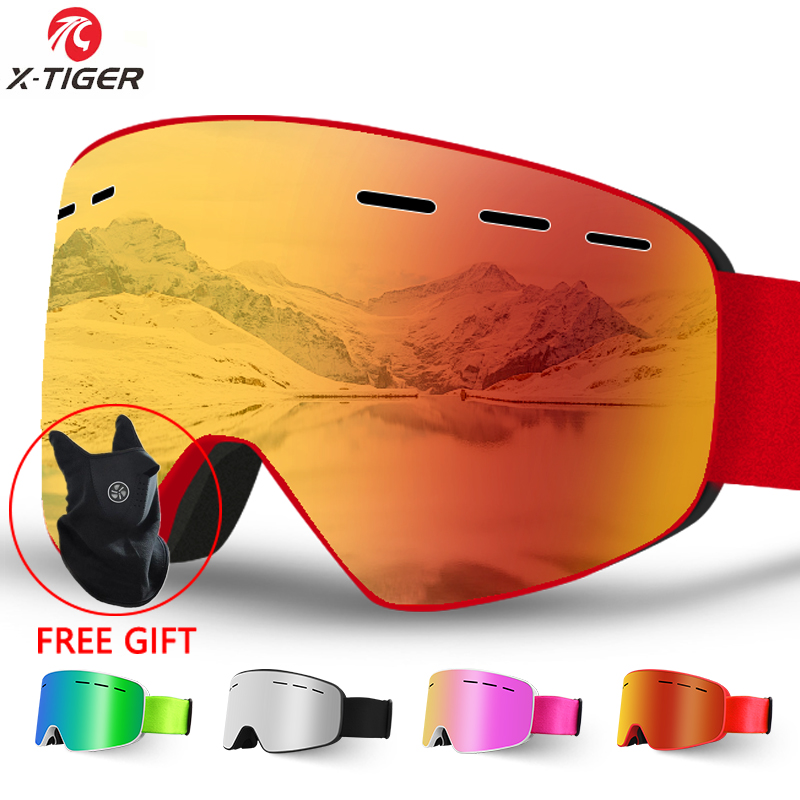 X-TIGER Brand Snow Snowboard Goggles Men Women Ski Goggles Double Layers 100% UV400 Anti-fog Big Ski Mask Glasses Skiing Glasses