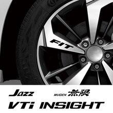 4PCS Car Wheel Rim Stickers For Honda FIT INSIGHT JAZZ MUGEN RR SI Sport TYPE S TYPE R VTI Auto Accessories Vinyl Film Hub Decal