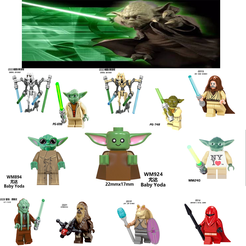 Starwars Yoda Baby Figures Darth Vader Luke Obi-Wan Jedi Master Chewbaca Battle Droid Star Wars Blocks Legoingly Figure Toys