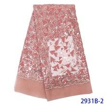 Tejido de encaje de terciopelo de Color rosa tejido de encaje nigeriano con lentejuelas Textiles africanos tejido de secuencia de encaje de terciopelo de red de encaje WAPW2931B