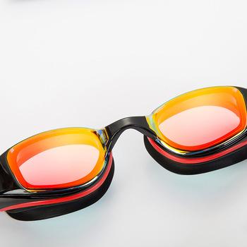 Profesjonalne okulary pływackie przeciwmgielne wodoodporne okulary pływackie dla dorosłych mężczyzn kobiety HD lustrzane przezroczyste gogle pływackie tanie i dobre opinie Aotu Silikonowe swimming goggles Black 07303 Poliwęglan Czerwony swimming glasses