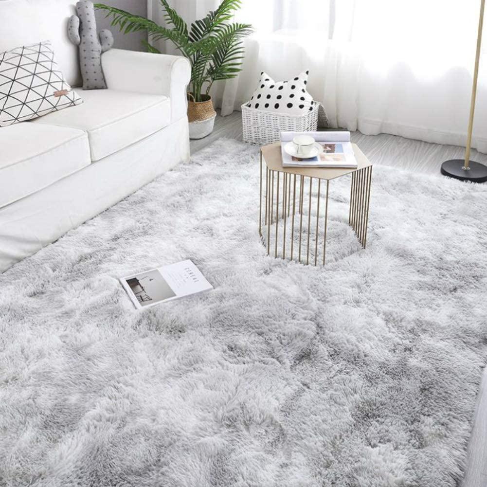 Plush Carpet for Living Room Fluffy Rug Table Mat Bed Nordic Style Grey Pink Anti-slip Floor