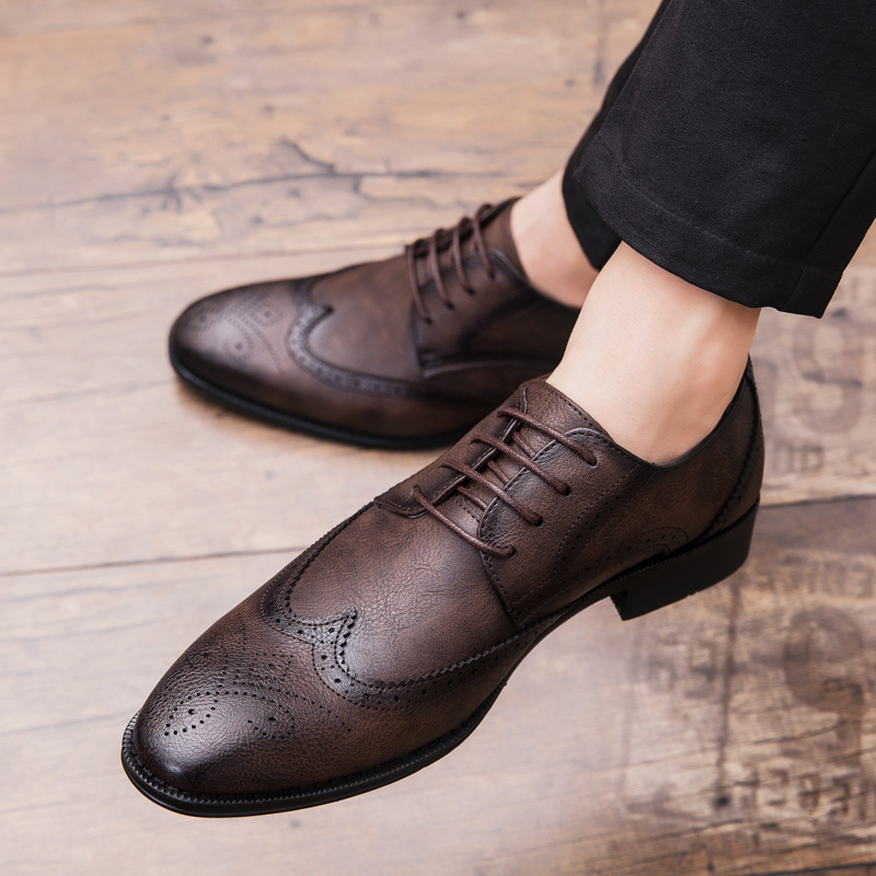 Merkmak Men Oxford Genuine Leather Rubber Dress Shoes Brogue Lace Up Flats Male Casual Shoes Black Brown Big Size