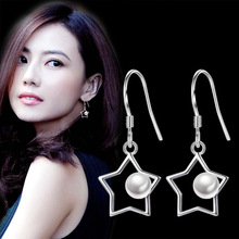 Classic White Gold filled Clear Crystal Long Drop Earrings Star Bridal Party Wedding Jewelry for Women Wholesale