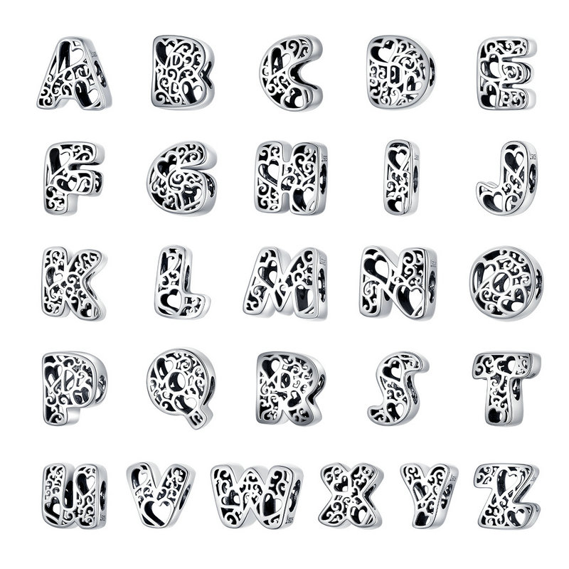 bamoer Funny Bubble Letter Alphabet Metal Beads for Original Silver 925 Bracelet Heart Pattern Charms DIY Jewelry SCC1229(China)