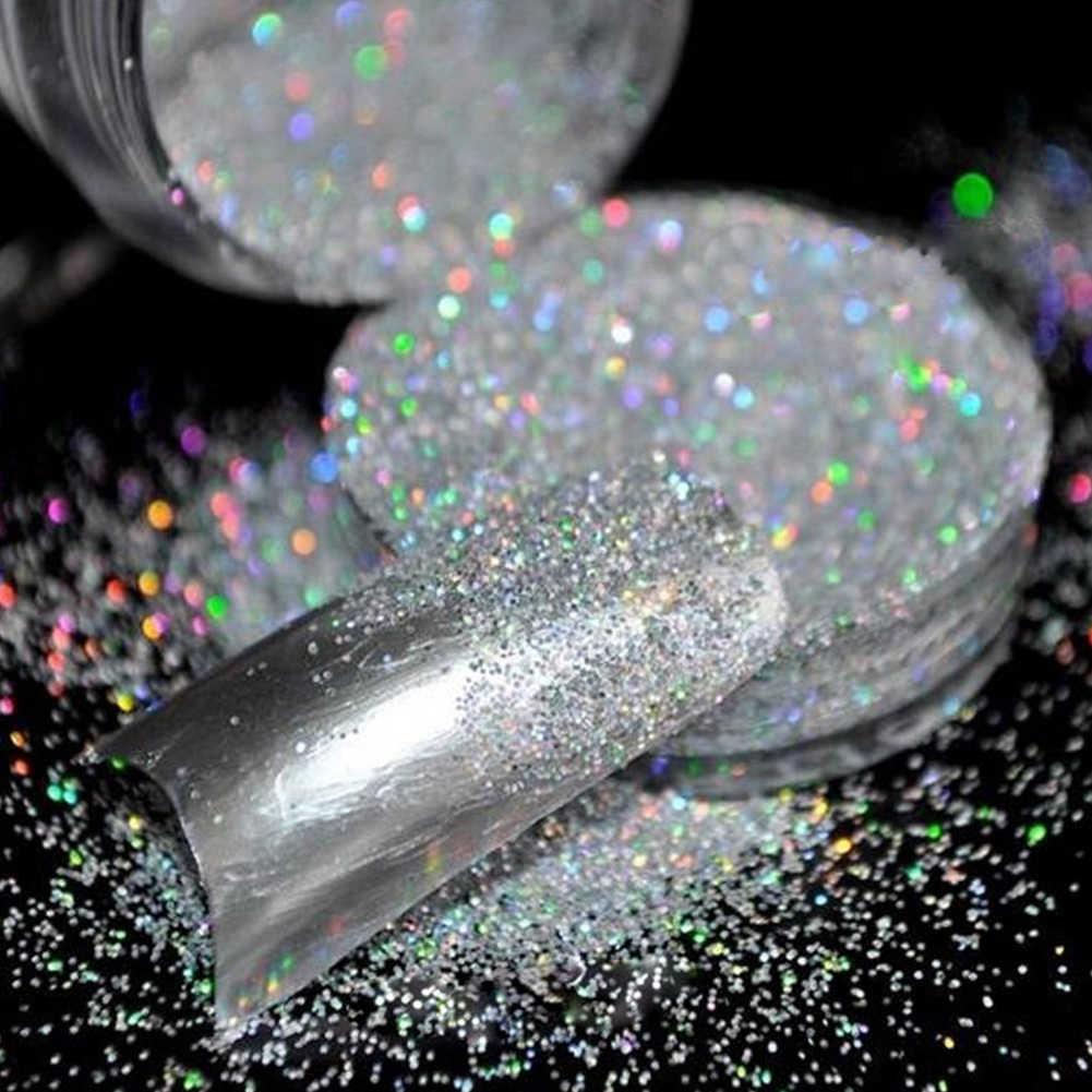 10g بريق (جليتر) الغبار مسحوق الثلاثية الأبعاد قزحي الألوان الجسم المعدني مسمار الفن الحرفية