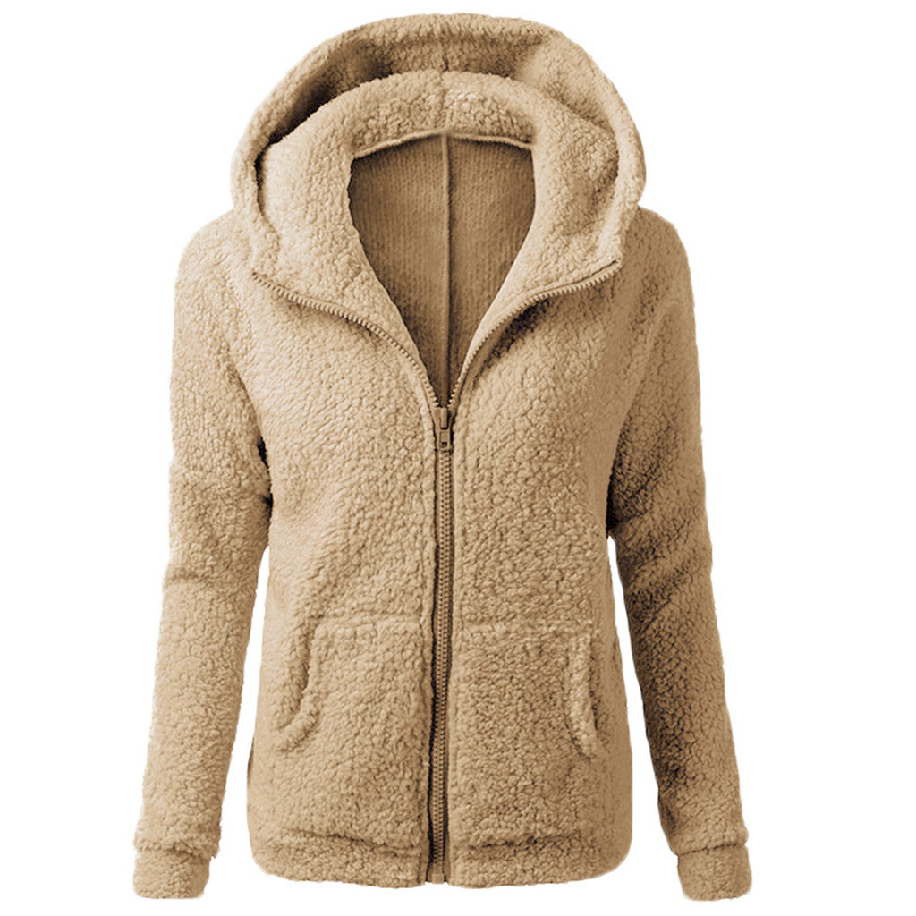 Women Plush Jacket Hooded Coat Winter Warm Wool Zipper Coat Pocket Outwear Teddy Jacket Long Sleeve Overcoat Tops Autumn Winter