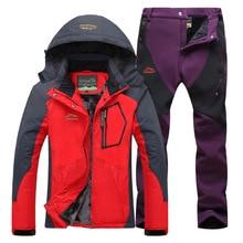 цена на Women Ski Suit Ski Jacket Pants Snow Clothes Mountain Skiing Waterproof Winter Warmth Female Outdoor Snowboard Hiking Coats sets