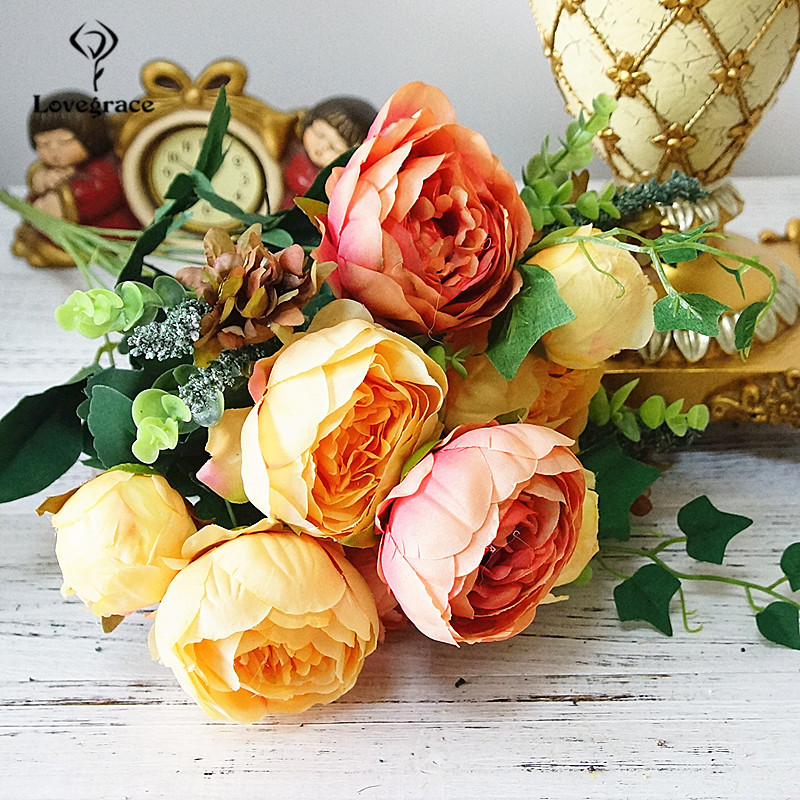 12 Big Heads/Bouquet Peonies Artificial Flowers Silk Peonies Small Bouquet Flowers Wedding Home Table Decor Fake Peony Flowers