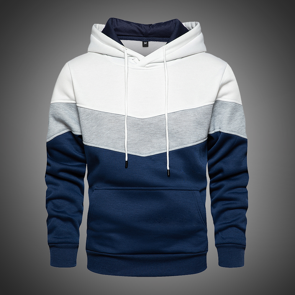 Mens Hoodies Sweatshirts Patchwork Fashion Tops Autumn Men Pullover Hoodies Winter Warm Thick Fleece Hoodies Men Kangaroo Pocket