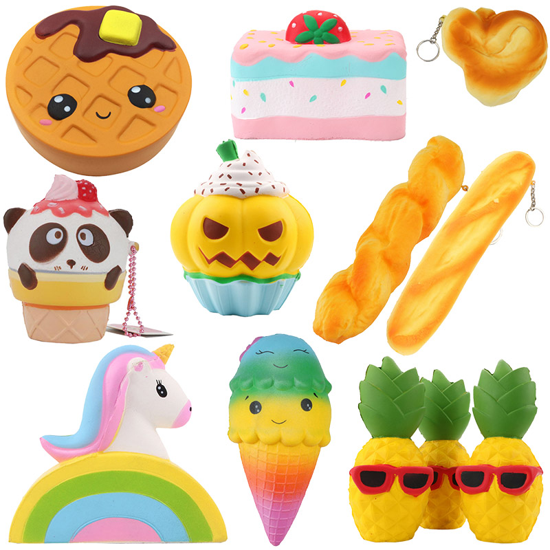 Squishy Slow Rising Toy Antistress Kawaii Animal Simulation Food Model Strawberry Ice Cream Unicorn Cake Squishy Toys For Kids