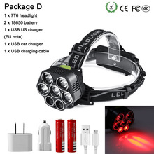 50000 LM LED flashlight White  light +RED LED outdoor  headlight use 2 * 18650 battery USB charging for camping  hunting fishing convoy l6 flashlight xhp70 led inside night light for outdoor camping fishing hunting with 2 26650 battery