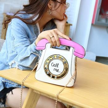 цена на fashion chic Phone shape chains women shoulder bags designer handbags luxury pu leather crossbody bag lady cute cartoon purses