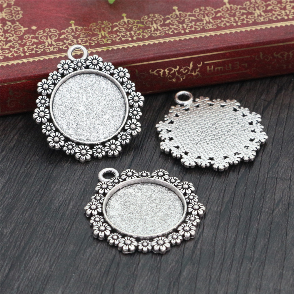 4pcs 20mm Inner Size Antique Silver Plated Flower Style Cabochon Base Setting Charms Pendant (D1-32)