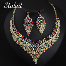 Women Bridal Colorful Crystal Palace Necklace Earrings  Jewelry Sets Wedding Dress Accessories Color Purple & Champagne Clavicle