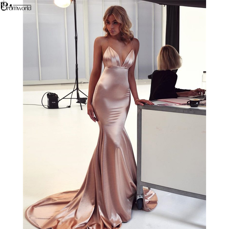 Abendkleider Mermaid Evening Dress Long 2019 Satin V-Neck Champagne Evening Party Dresses Sexy Backless Prom Gown Robe De Soiree