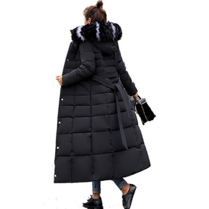 Image 3 - חדש מרופד מעיל 2019 ארוך אופנה חורף מעיל נשים עבה למטה מעיילי נקבה Slim פרווה צווארון החורף חם מעיל נשים