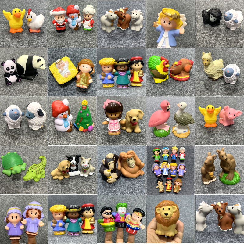 BIXE Toys Doll Lot Fisher Little 2inch Mini People Toys Workman Girl Princess Cartoon Action Figures Girls Toys Xmas Gift