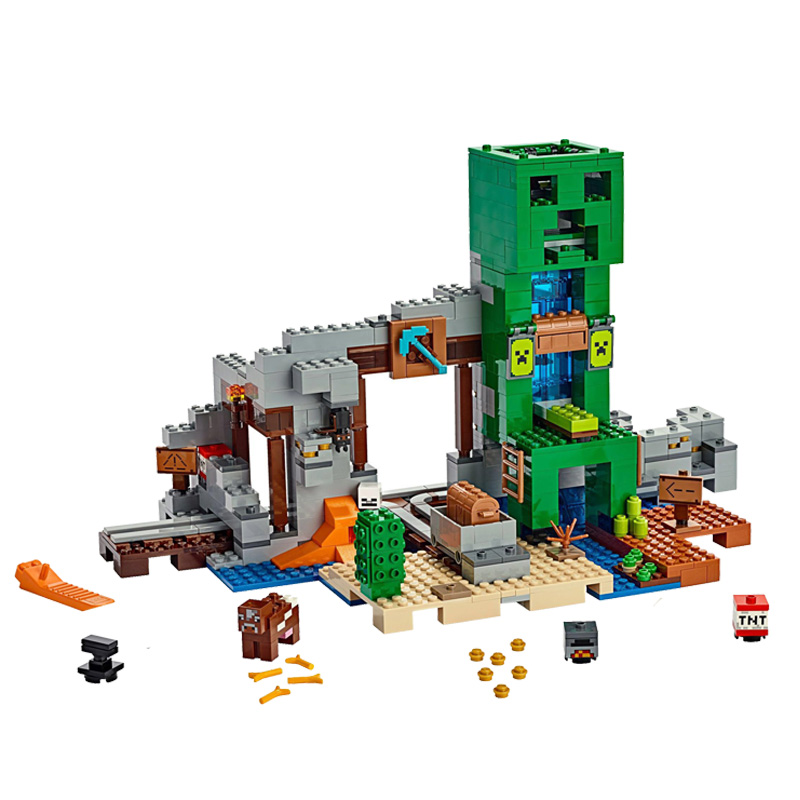 2019 My World Toys The Creeper Mine Compatible Legoines My World 21155 Building Blocks Figure Brick Kids Christmas Gift