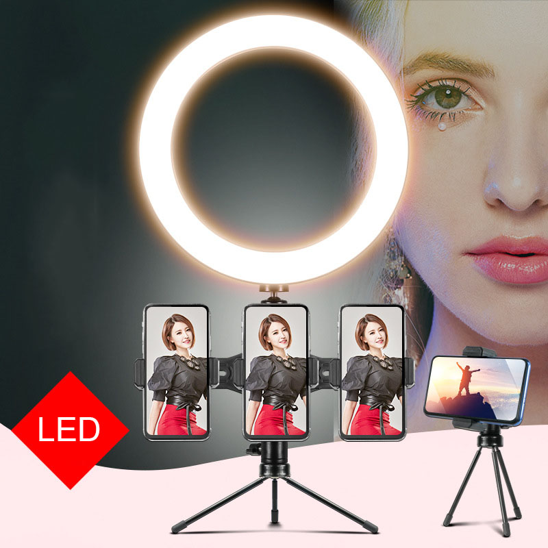 Photography LED Selfie Ring Light 16CM Stepless Lighting Dimmable With Cradle Head For Makeup Youtube Facebook Video Live Studio