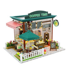 Doll House Miniature Diy Dollhouse Furnitures Wood Coffee Time Shop House Toys For Children Girls Birthday Christmas Gift Adult(China)