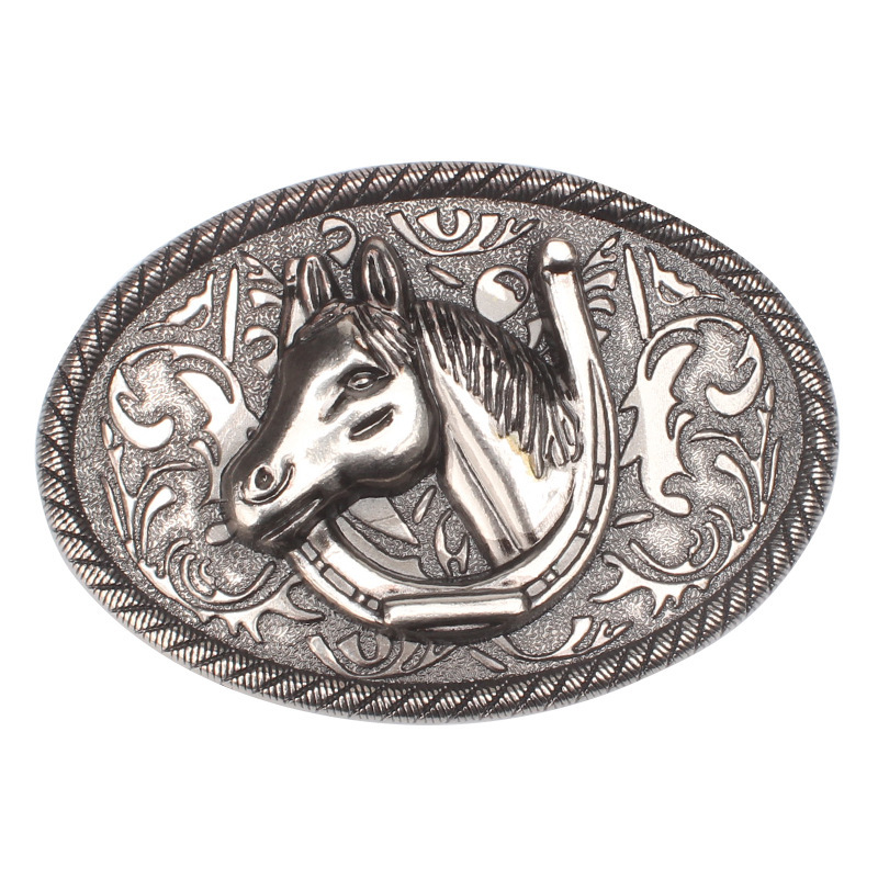 Simple horse head belt buckle horse series super large alloy smooth buckle belt parts self-assembly