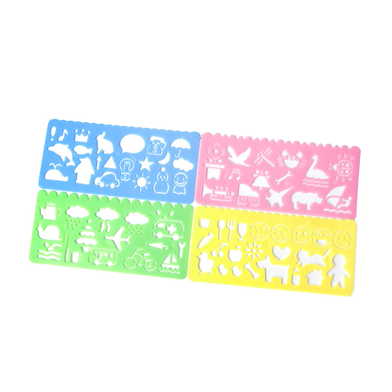 4 X Plastic Animals Vehicles Instruments Stencil Set For Kids Art Craft Painting Stationery