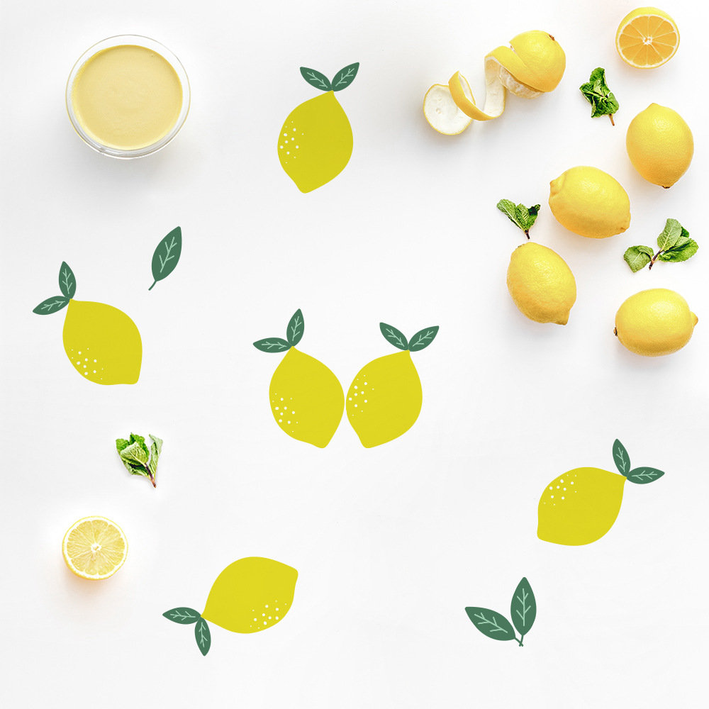 Funlife Yellow Lemon Wall Sticker,Art Wall Decal For Coffee Shop Home Decor,Waterproof Removable(China)