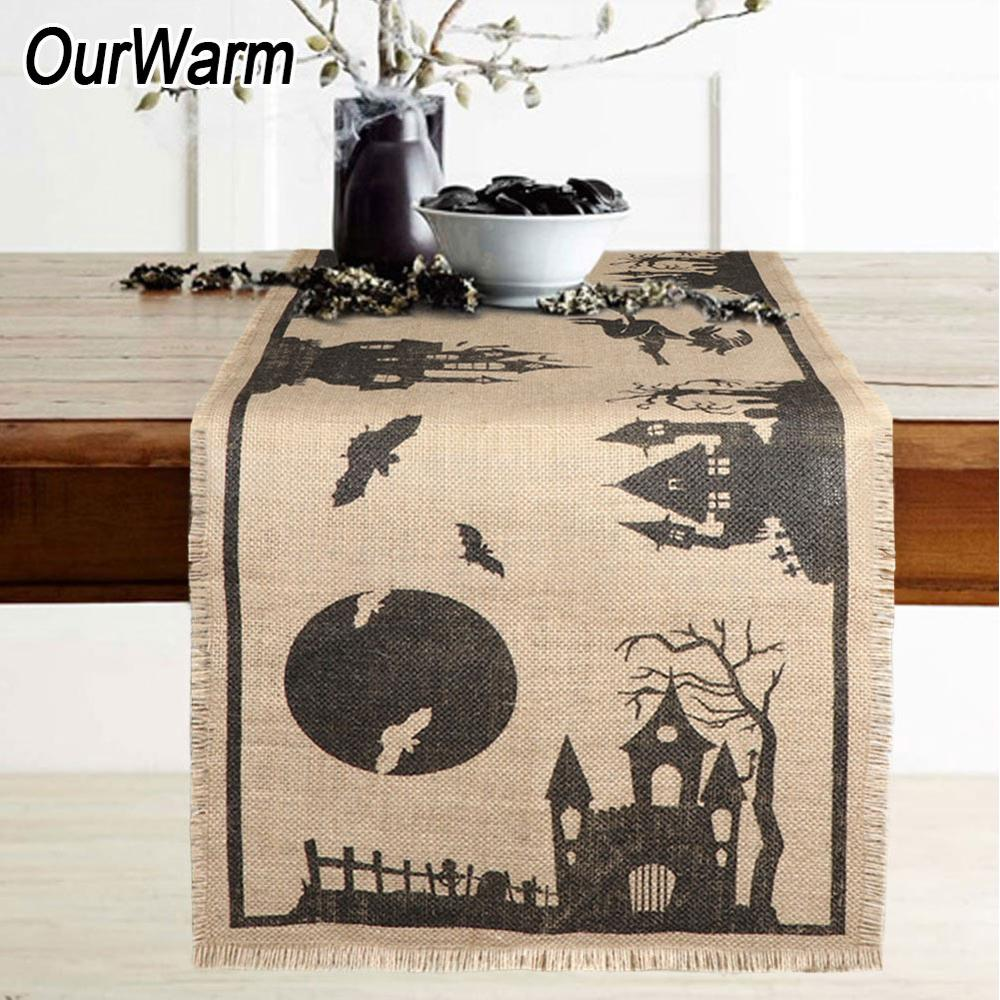 OurWarm Halloween Table Runner Dinner Table Decoration Burlap Table Runner Haunted House DIY Supplies 36*188cm