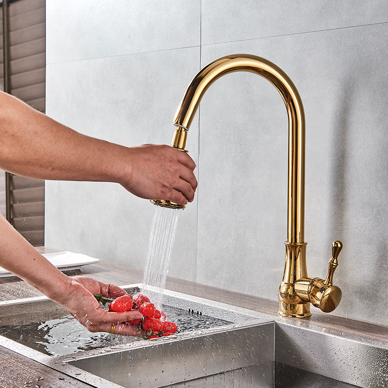 Modern Faucet Luxury Brass Gold Kitchen Faucet Rotatable Mixer Tap Single Sharp Handle Single Hole Hot&Cold Water