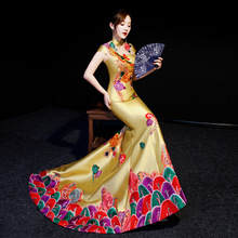 Fish Tail Luxury Cheongsam Embroidery Phoenix gown Traditional Chinese Woman modern Qipao Oriental Evening Dress robe