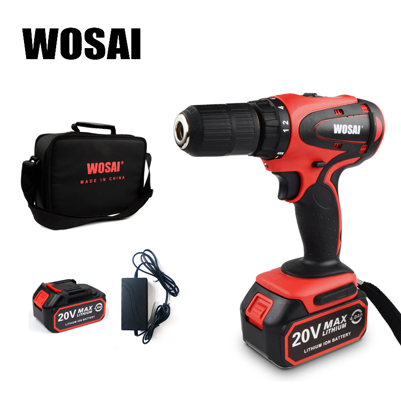 WOSAI 20V Electric Screwdriver Cordless Electric Mini Drill Lithium-Ion Battery Operated Rechargeable Power Tools 2-Speed